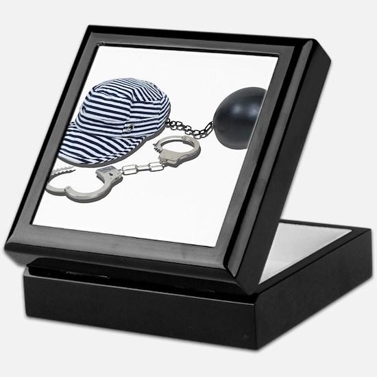 Jailbird Handcuffs Ball Chain Keepsake Box