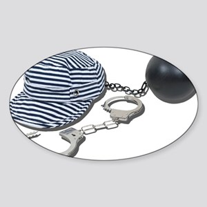 Jailbird Handcuffs Ball Chain Sticker (Oval)