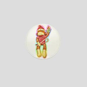 Glowing Christmas SockMonkey Mini Button