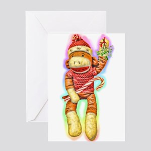 Glowing Christmas SockMonkey Greeting Card