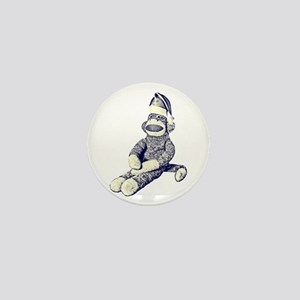 Grunge Christmas SockMonkey Mini Button