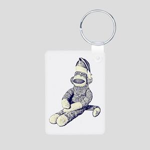 Grunge Christmas SockMonkey Aluminum Photo Keychai