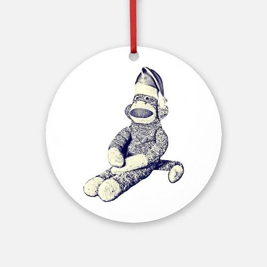 Grunge Christmas SockMonkey Ornament (Round)
