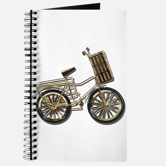 Golden Bicycle with Basket Journal