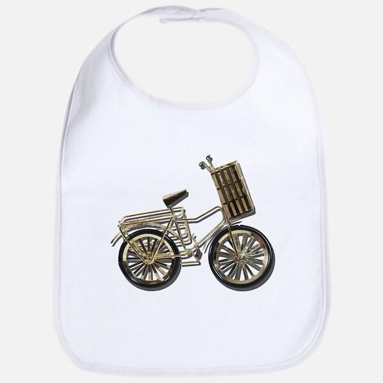 Golden Bicycle with Basket Bib