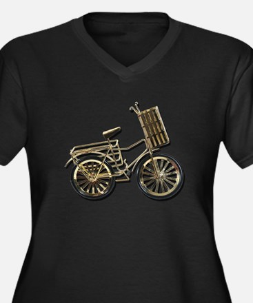 Golden Bicycle with Basket Women's Plus Size V-Nec