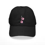 Fuzzy Pink Heart Dice Black Cap