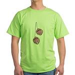 Fuzzy Pink Heart Dice Green T-Shirt