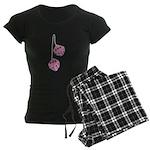 Fuzzy Pink Heart Dice Women's Dark Pajamas