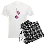 Fuzzy Pink Heart Dice Men's Light Pajamas