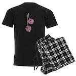 Fuzzy Pink Heart Dice Men's Dark Pajamas