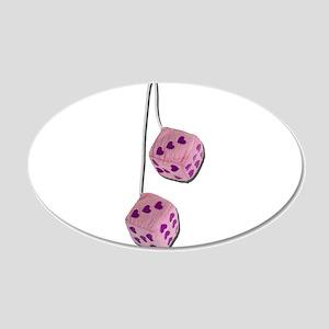 Fuzzy Pink Heart Dice 22x14 Oval Wall Peel