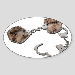 Fur Lined Handcuffs Sticker (Oval)