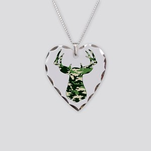 BUCK IN CAMO Necklace Heart Charm
