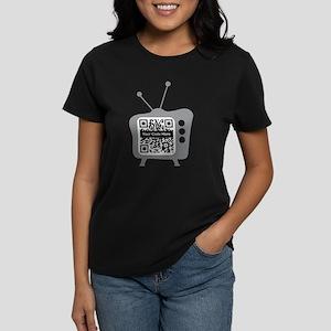 QR Code Retro TV Women's Dark T-Shirt