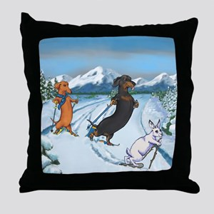 Ski Dachshunds Throw Pillow