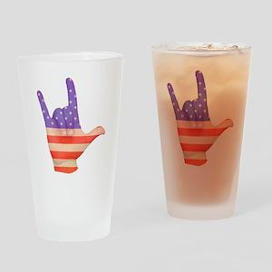 USA Flag ILY sign language hand Drinking Glass