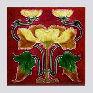 Art Nouveau Autumn Flower Tile Coaster