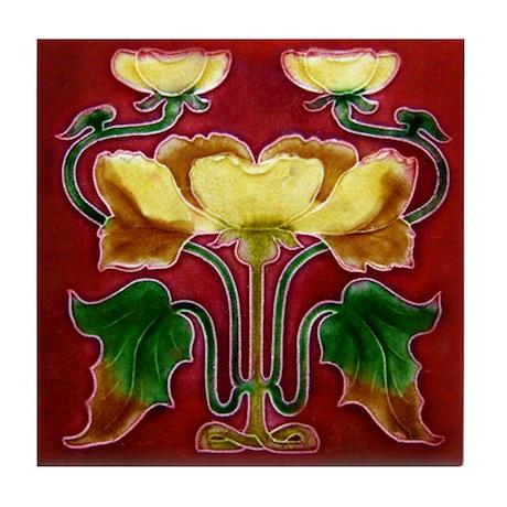 Art Nouveau Autumn Flower Tile Coaster