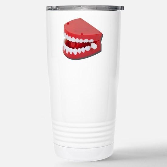 Fake Chattering Teeth Stainless Steel Travel Mug
