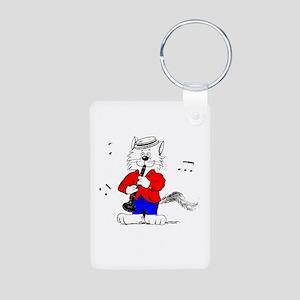 Clarinet Cat Aluminum Photo Keychain