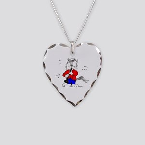 Clarinet Cat Necklace Heart Charm