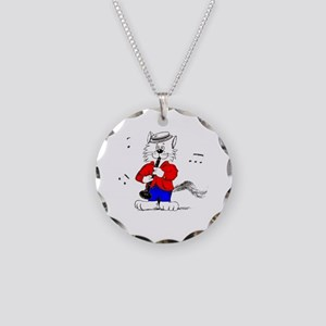 Clarinet Cat Necklace Circle Charm