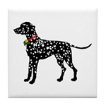 Christmas or Holiday Dalmatian Silhouette Tile Coa