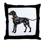 Christmas or Holiday Dalmatian Silhouette Throw Pi