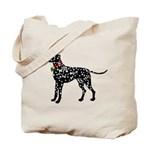 Christmas or Holiday Dalmatian Silhouette Tote Bag