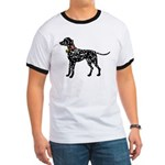 Christmas or Holiday Dalmatian Silhouette Ringer T