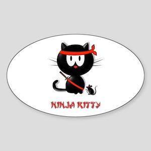 ninja kitty Sticker (Oval)