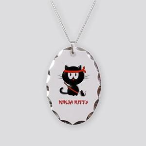 ninja kitty Necklace Oval Charm