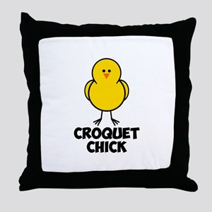 Croquet Chick Throw Pillow