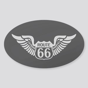 Route 66 Wings Sticker (Oval)