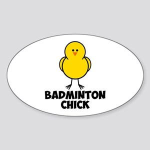 Badminton Chick Sticker (Oval)