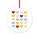 Rainbow Hearts Pattern Ornament (Round)
