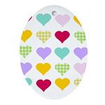 Rainbow Hearts Pattern Ornament (Oval)