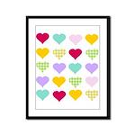 Rainbow Hearts Pattern Framed Panel Print