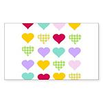 Rainbow Hearts Pattern Sticker (Rectangle 50 pk)