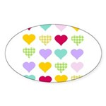 Rainbow Hearts Pattern Sticker (Oval 50 pk)
