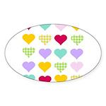 Rainbow Hearts Pattern Sticker (Oval 10 pk)