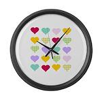 Rainbow Hearts Pattern Large Wall Clock