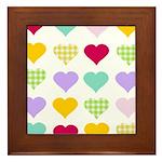 Rainbow Hearts Pattern Framed Tile