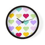 Rainbow Hearts Pattern Wall Clock