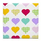 Rainbow Hearts Pattern Tile Coaster