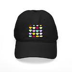 Rainbow Hearts Pattern Black Cap