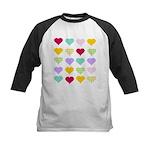 Rainbow Hearts Pattern Kids Baseball Jersey