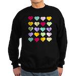 Rainbow Hearts Pattern Sweatshirt (dark)
