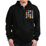 Rainbow Hearts Pattern Zip Hoodie (dark)